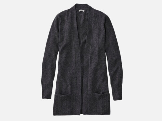 Classic Cashmere Open Cardigan with Pocket.