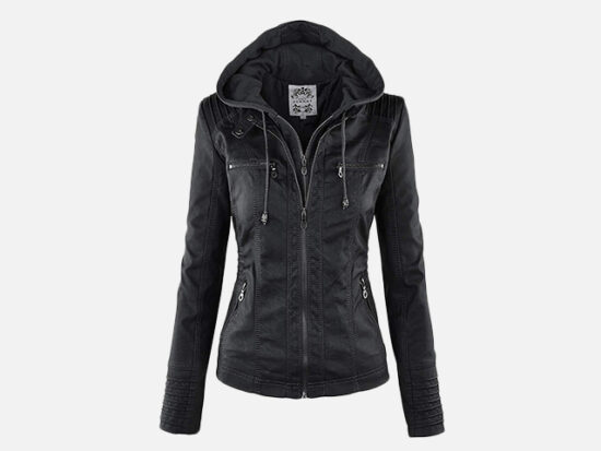 Made By Johnny MBJ Womens Faux Leather Motorcycle Jacket with Hoodie.