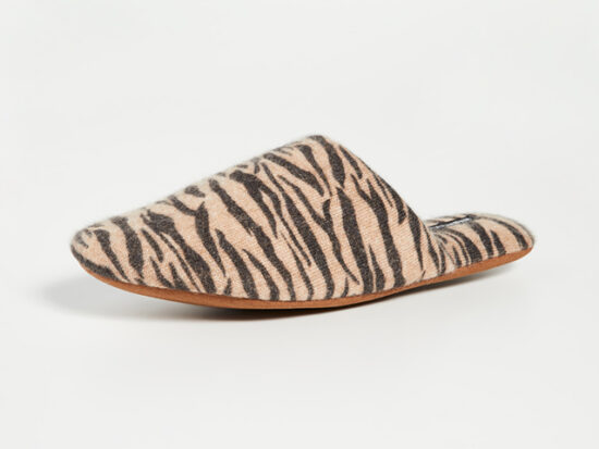 Minnie Rose Tiger Cashmere Slippers.