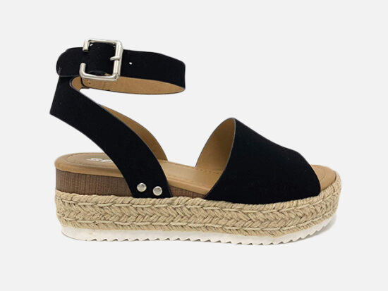 Soda Topic Topshoe Avenue Women's Open Toe Ankle Strap Espadrille.