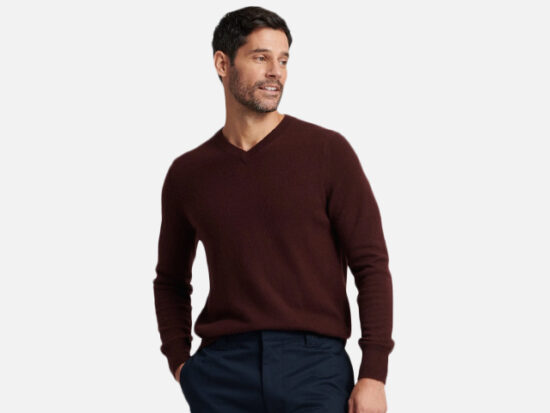 The Essential $75 Cashmere V-Neck Sweater Plum.