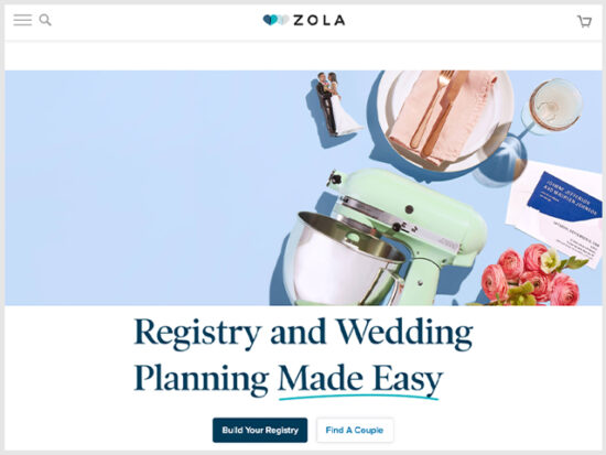 Zola Wedding Registry.