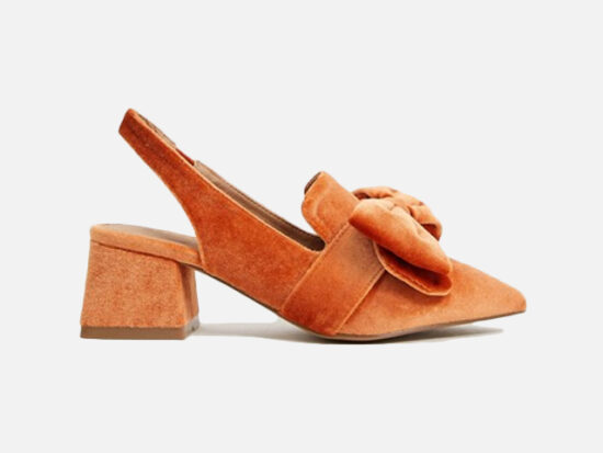 ASOS DESIGN Salsa slingback mid-heels with bow in orange velvet.