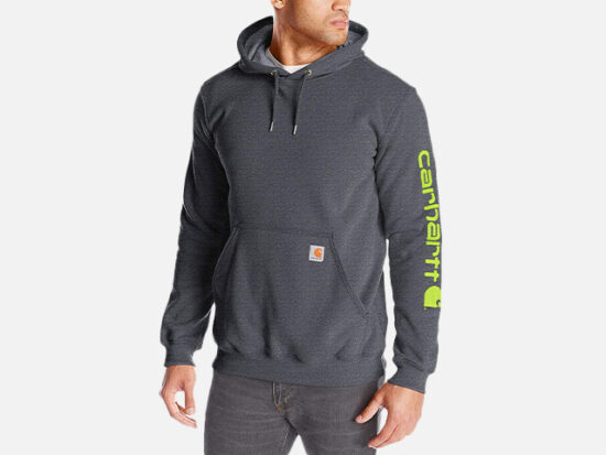 Carhartt Men's Midweight Sleeve Logo Hooded Sweatshirt.