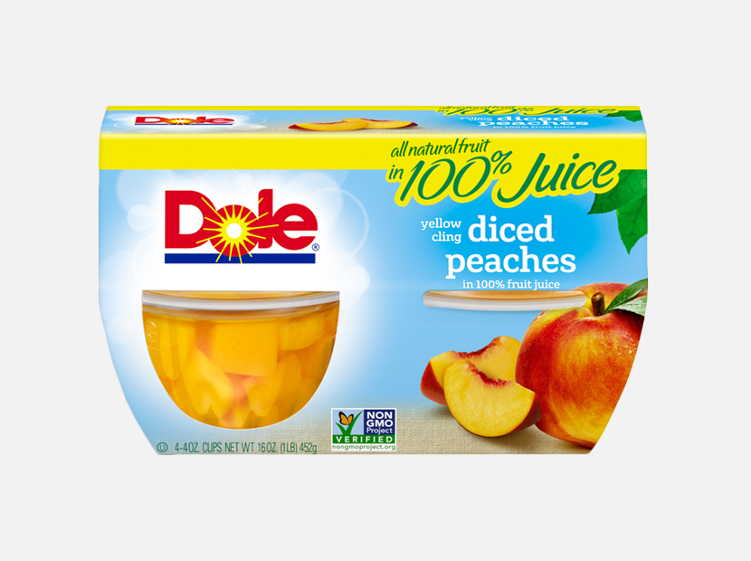DOLE FRUIT BOWLS, Yellow Cling Diced Peaches.