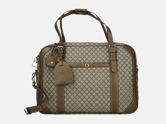 Gucci Unisex Briefcase Beige/Brown Diamante Leather.