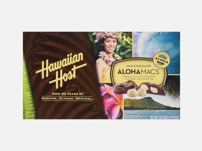 Hawaiian Host Aloha Macs Milk Chocolate Macadamia Nuts.