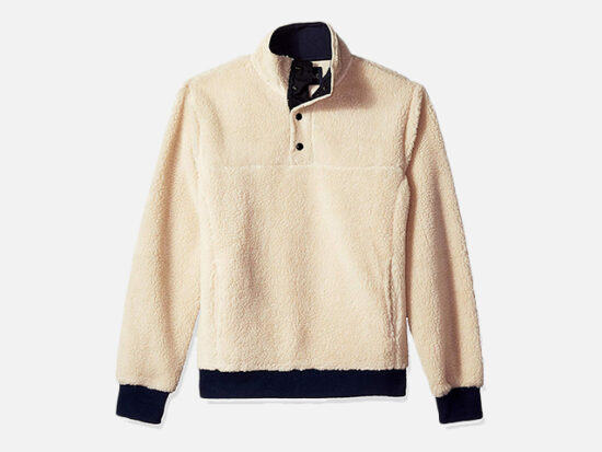 J.Crew Mercantile Men's Sherpa Fleece Mock Neck Pullover.