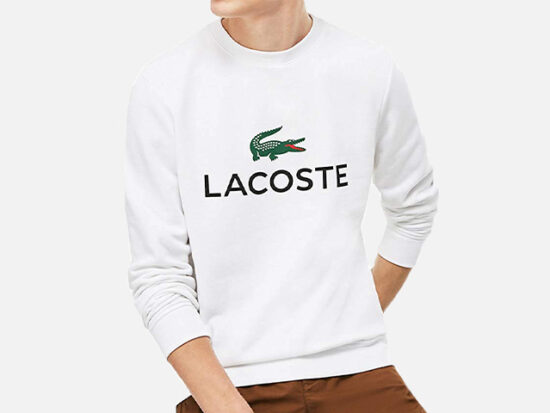 Lacoste Men's Long Sleeve Graphic Croc Brushed Fleece Jersey Sweatshirt.