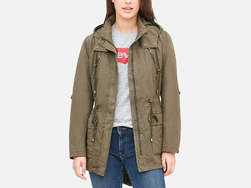 Levi's Women's Lightweight Cotton Hooded Anorak Jacket.