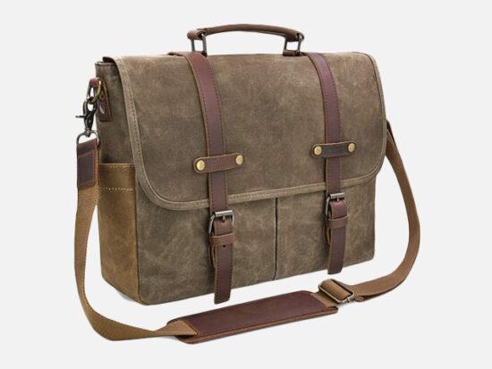 Mens Messenger Bag 15.6 Inch Waterproof Vintage Genuine Leather Waxed Canvas Briefcase.