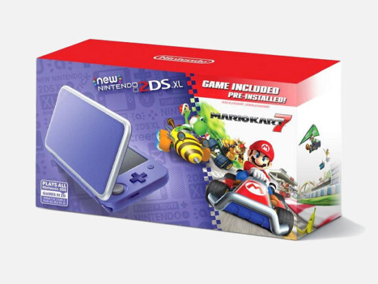 Nintendo 2DS XL Purple and Silver Mario Kart 7 Bundle.