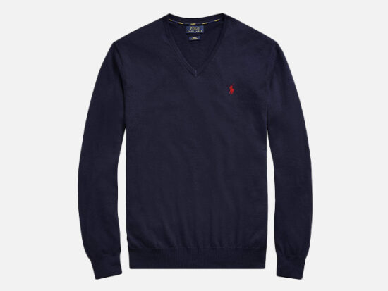 Polo Ralph Lauren Men's Classic Fit Long Sleeve V-Neck Pima Cotton Sweater.