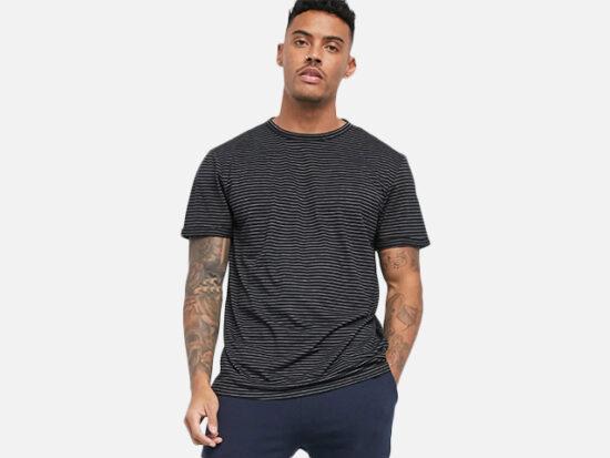 Pull&Bear stripe t-shirt in black.