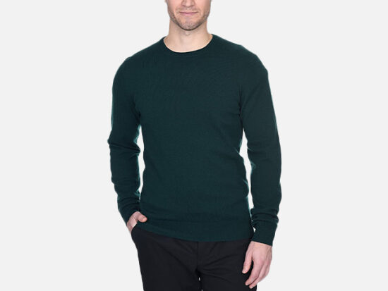 State Fusio Men's Basic Crewneck Sweater Cashmere Merino Wool Long Sleeve Pullover.
