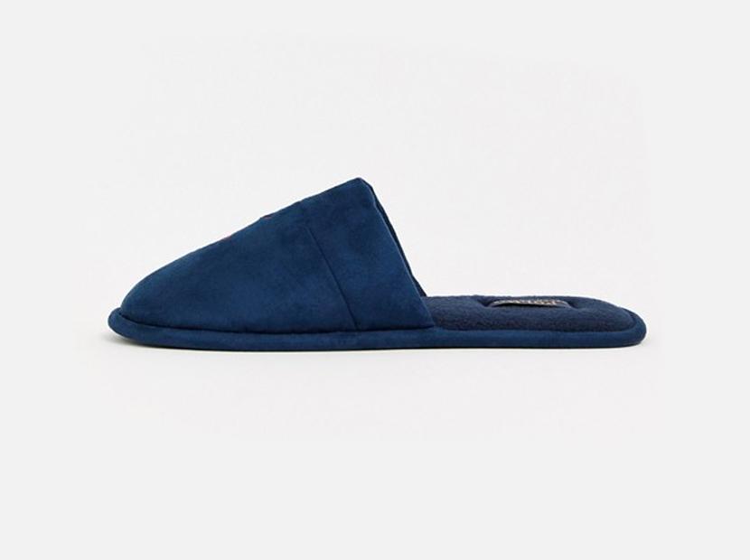 Ralph Lauren Sunday scuff slip on slipper in navy.