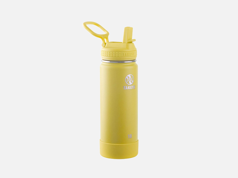 Takeya Actives Insulated Water Bottle w/Straw Lid, Canary, 18 Ounces.
